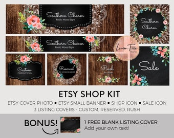 Etsy banner set, etsy shop set, chic etsy banner, premade etsy graphics set, wood banners, etsy cover photo, rustic ES26
