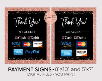 picture about We Accept Credit Card Signs Printable identify Credit score card indication Etsy
