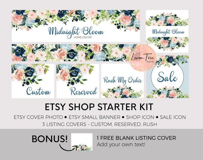 0aef08bfe672e Etsy Shop Banner, Etsy Shop Kit, Etsy Shop Graphics, Etsy Shop Set, Etsy  Branding Kit, Etsy Store Banners, Watercolor Flowers | ES05