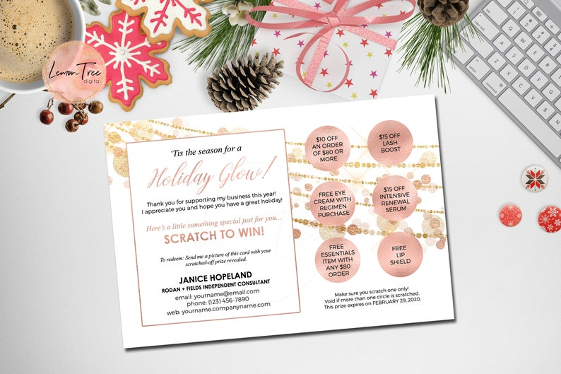 Rodan and Fields Scratch Off Cards Rose Gold Scratch Off Card for Christmas Holiday Christmas Scratch Off Cards Rose Gold and White