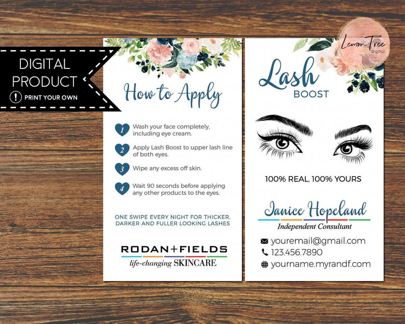 a930b7b71f9 Rodan and Fields Lash Boost Instructions Card How to Apply | Etsy