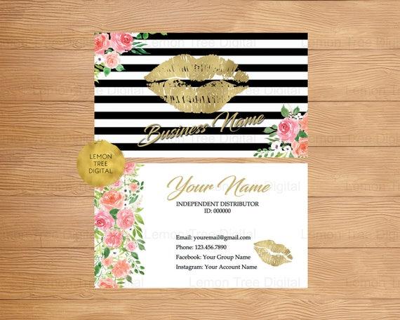 LipSense Carte De Visite Kiss Lvres Or Noir Blanc Floral Lipsense