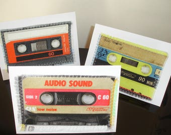 Pack of 3 Cassette Tape Cards Notelets Blank Inside Cassettes Tapes Greetings Card x Three