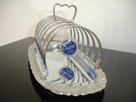 Toast Rack 6 tranche Queen Anne Vintage chrome Egouttoir en acier inoxydable Post / Letter Rack avec ramasse-miettes