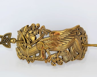 Bronze Hair clip Griffin. Griffon Hairclip. Pagan jewelry. Hair Jewelry