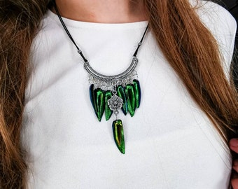Khaleesi costume jewelry REAL green jewel beetle wings pendant Daenerys jewelry Green Elytra necklace silver scarab jewelry stag beetle