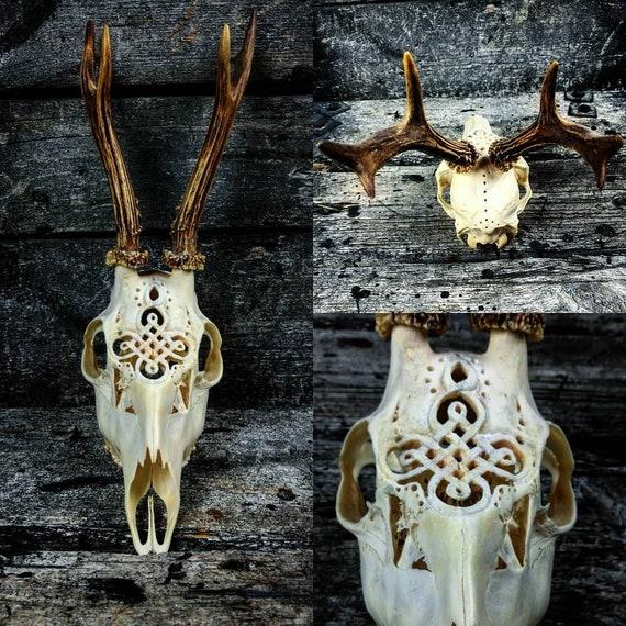 MADE TO ORDER Huge Roe deer skull engraved art huge impressive Celtic knot ornaments carving gift boyfriend girlfriend mother father