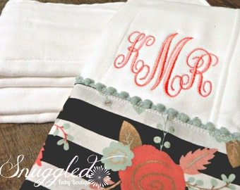 Monogrammed Black and White Floral Boutique Burp Cloth