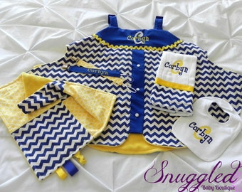 Complete Baby Gift Set - Blue and Yellow Chevron
