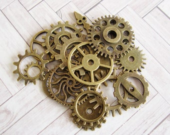 Steampunk Gear Charms, Antique Bronze Metal Watch Gears, Mechanical Cogs,  17 pieces Assorted