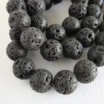 Round Natural Lava Beads, 14mm  1 strand/27 beads