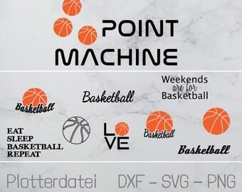 Plotterdatei - Basketball - 10-er Set in SVG, DXF, PNG