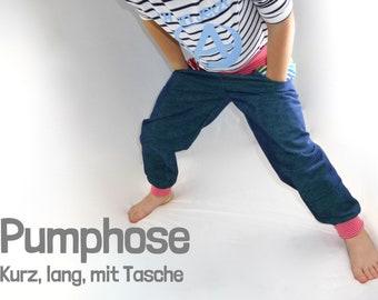 Pumphose für Kinder * lang, kurz, mit Tasche * Gr. 56 – 128 * A4, A0, Beamer