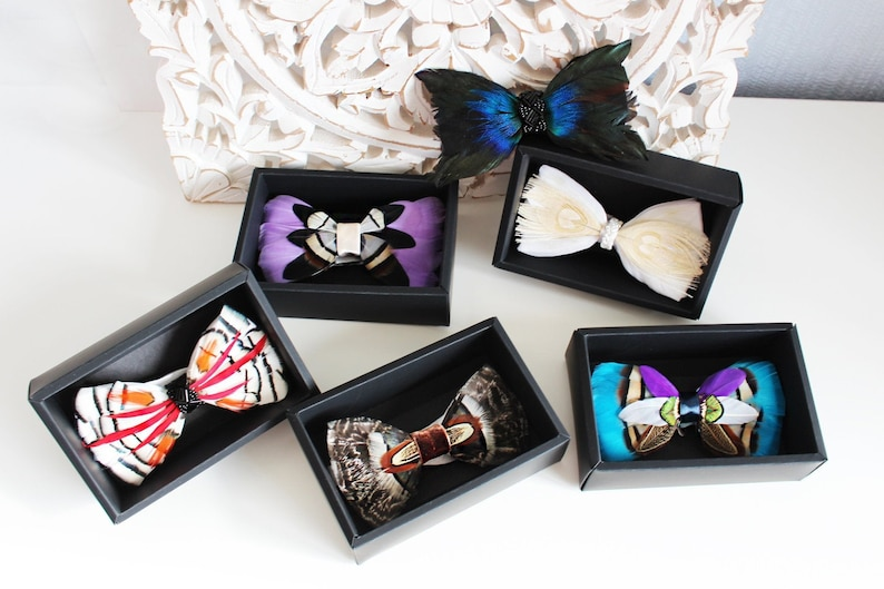 pheasant feathers bow tie Bow tie white,Bow tie black Bow tie wedding Feather Bow tie bowtie for groom Bird feathers bow tie