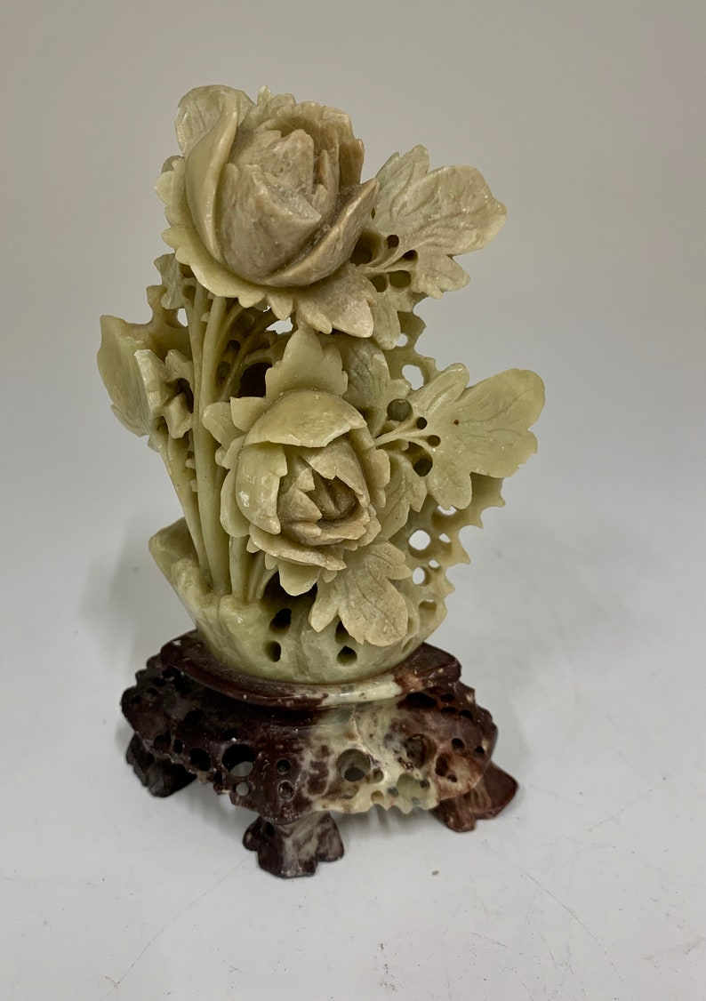 Antique Carved Soap Stone Floral Group circa 1900