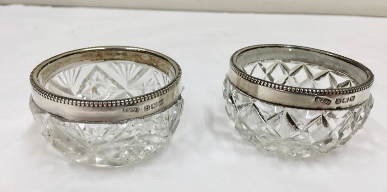 Two Geo V Cut Glass Salts with Solid Silver Rims circa 1921