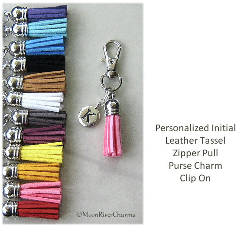 Letter J Initial Flower Purple Backpack Handbag Purse Keychain Tassel Charm