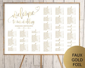 Gold Wedding Seating Chart Template, Alphabetical Seating Chart Printable, Seating Board, Editable Seating Chart, Seating Poster