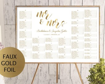 Gold Wedding seating chart template, printable seating chart, alphabetical seating chart, editable seating plan, Mr and Mrs sign