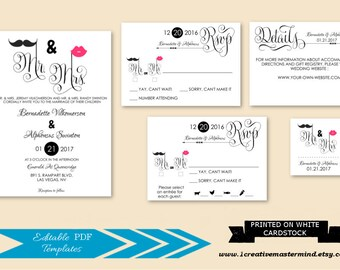 DIY Fun Wedding Invitation Template Printable, Mr and Mrs Invitation set, rsvp, detail, tag, seal, Instant Download, Digital, #1CM94-1