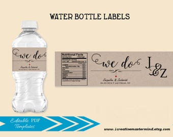 Wedding Water Bottle Label Template DIY We Do Editable PDF Printable Rustic Welcome Bag Instant Download