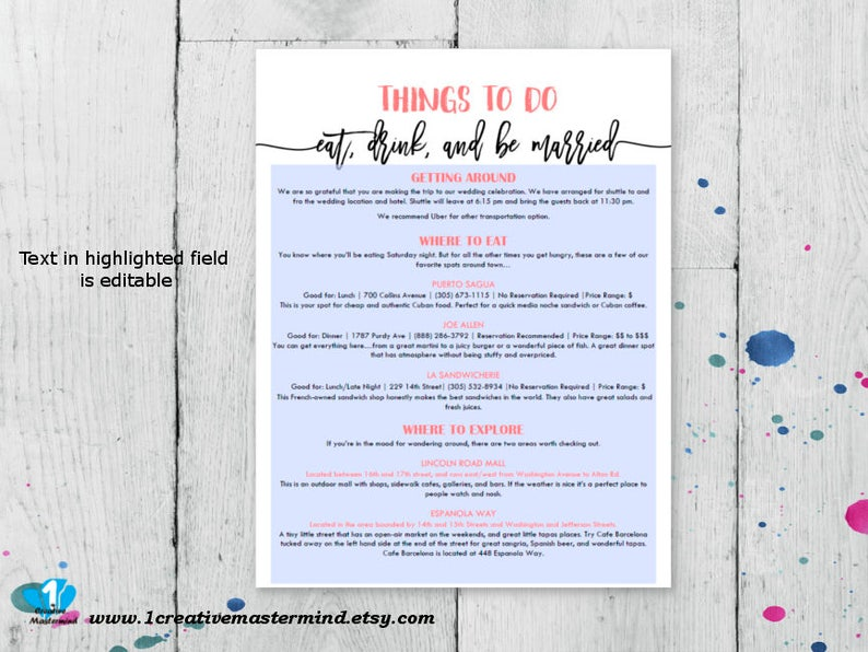 DIY Wedding Typography Welcome Bag Things to do Note Instant Download Activities note Printable itinerary Editable Template