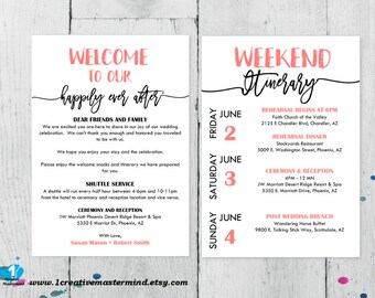 DIY Printable Wedding Bag Note Template, Editable Welcome Bag Letter PDF, Wedding Itinerary Template, weekend itinerary, Instant Download,