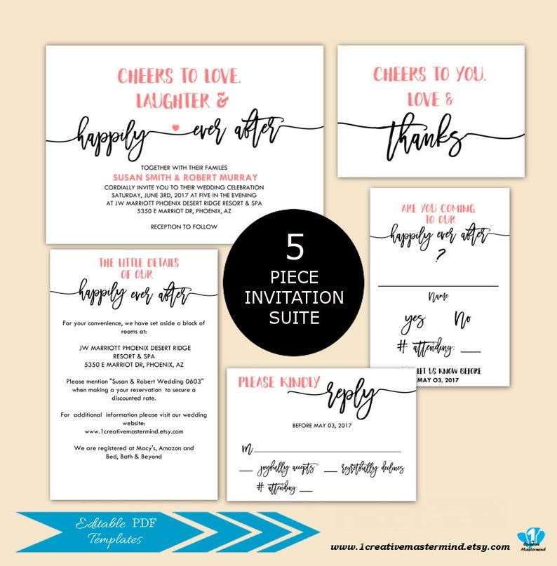 DIY Rustic Wedding Invitation Set Editable PDF Invitation Suite Printable Template typography invite script Wedding Invitation Template