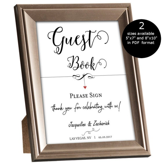 Wedding Guest Book Ideas Diy: SALE DIY Wedding Guest Book Sign Printable Sign Template