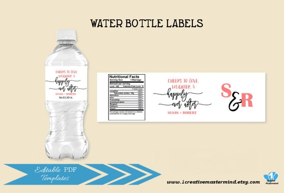 DIY Wedding Water Bottle Label Template Editable Printable Instant Download 1CM87 1