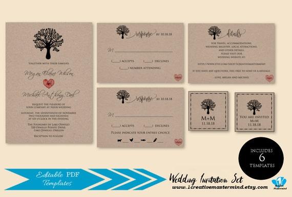 Diy Rustic Wedding Invitation Template Printable Rustic Tree Etsy