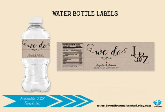 Wedding Water Bottle Label Template DIY We Do Editable PDF