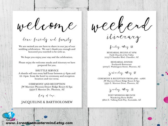 Diy Wedding Welcome Bag Note Welcome Bag Letter Printable Etsy