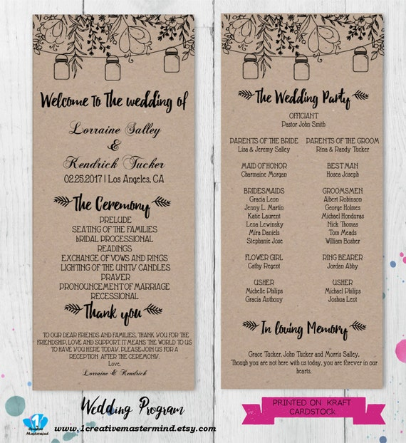 DIY Rustic Wedding Program Template Printable Editable