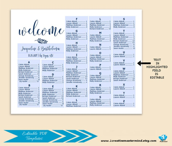 Navy Blue Wedding Alphabetical Seating Chart Template Printable Seating Chart Alphabetical Seating Chart Editable Seating Plan