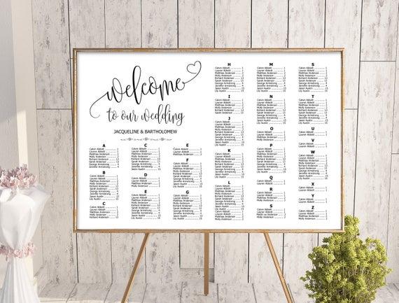 wedding alphabetical seating chart template printable