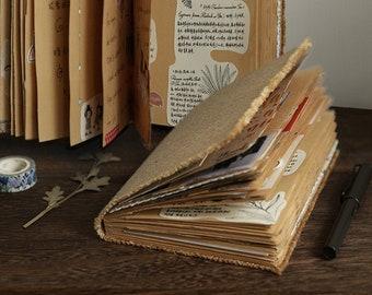 Retro Handmade Junk Journal Starter. Rustic Linen Burlap Cover Notebook with Manual Cut Pocket Page. Raw Edge bullet journal. Travel journal