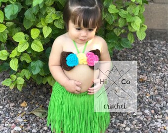 Luau Crochet Outfit Luau Costume Hawaiian Photo Prop First Birthday Luau Theme Party Crochet Costume Baby First Luau Hula Dancer  sc 1 st  Etsy & Luau outfit | Etsy