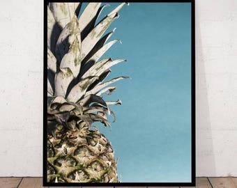 Pineapple Print, Tropical Fruit Wall Art, Kitchen Decor, Modern Minimalist, Tropical Decor, Pineapple Decor, Tropical Fruit Print