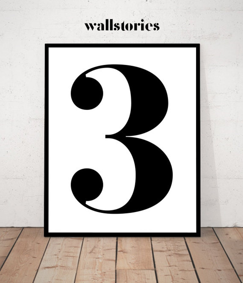 Number Three Print Number 3 3 Print Number 3 Art Printable Number Art Number Wall Decor Black White Number 3 Minimalist Number Three