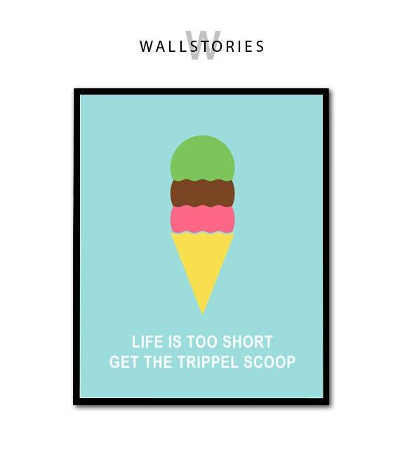 Ice Cream Print, Ice Cream Quote, Summer Home Decor, Summer Design, Summer  Children Decor, Ice Cream Printable, Summer Print