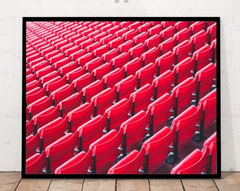 Seats in a Row Print, Red Seats Photography, Modern Art Photography, Seats Print, Seats Wall Art, Seats Decor, Seats in a Row Photography