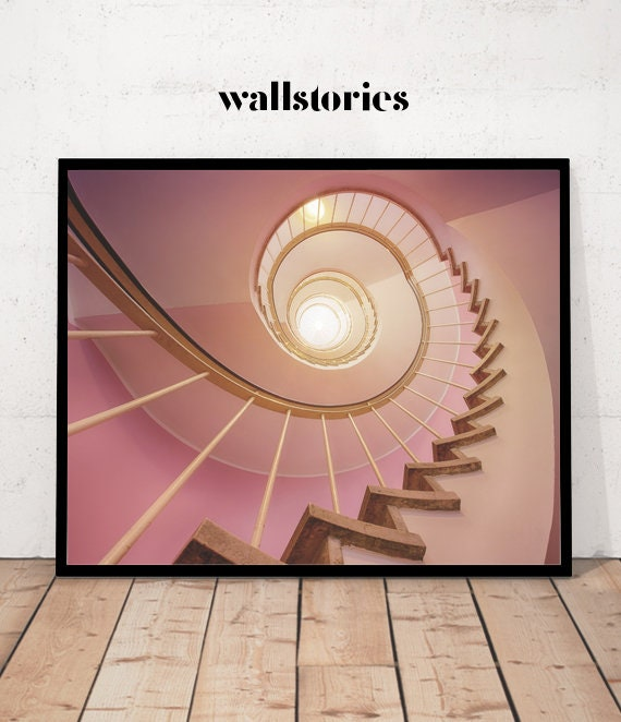 Pink Stairs Architecture Prints Canvas Painting Poster Modern Wall Art Picture