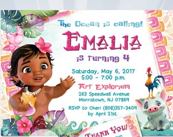 MOANA BIRTHDAY INVITATION Baby Moana Invitation Birthday Party Girl Digital