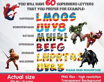 image regarding Superhero Letters Printable referred to as Superhero alphabet Etsy