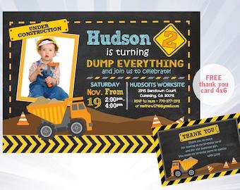 car truck invitation twin boys invitation dump truck etsy