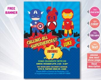 superhero invitation superhero invitation templates etsy