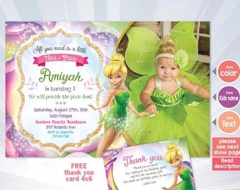 Tinkerbell Invitation Fairy Birthday Party Disney Fairies