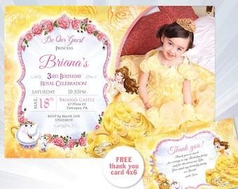 Princess Belle Birthday Invitation