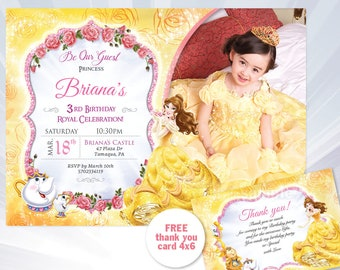 Belle invitation etsy princess belle birthday invitation beauty and the beast princess belle birthday party invitation beauty and the beast filmwisefo